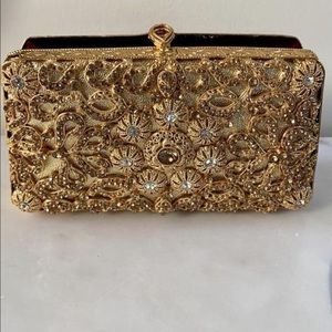 Gold/Silver Handmade Crystal Evening Clutch Purse